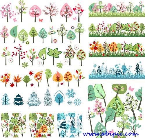 دانلود طرح وکتور درخت در فصل های مختلف سال Season trees Vector