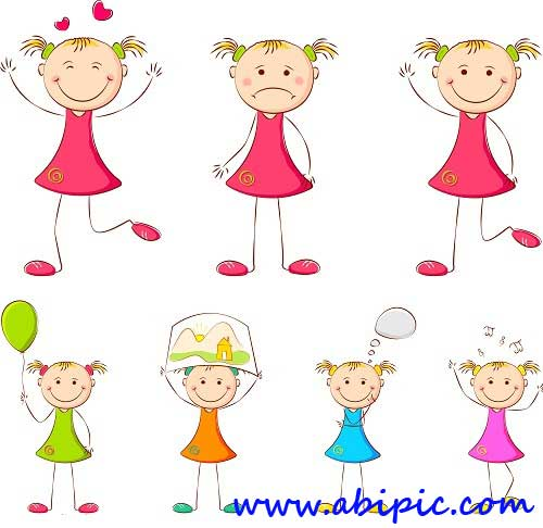 دانلود طرح وکتور کودکان شماره 4 Vectors Various Cartoon Children