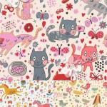 دانلود وکتور  پس زمینه کارتونی حیوانات Background with cute cartoon animals