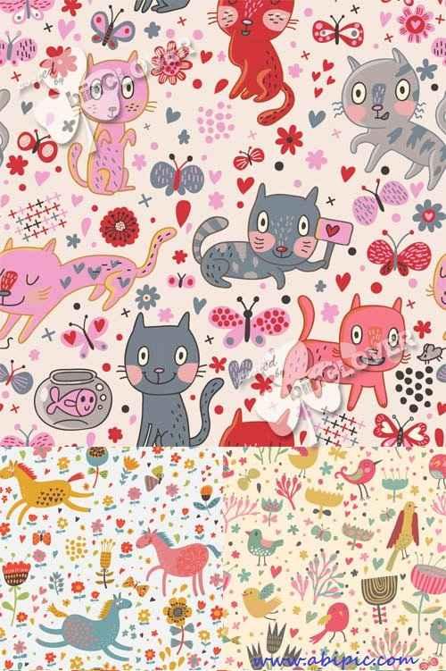 دانلود وکتور  پس زمینه کارتونی با طرح حیوانات Background with cute cartoon animals