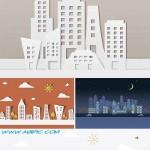 دانلود وکتور شهر کاغذی Paper City