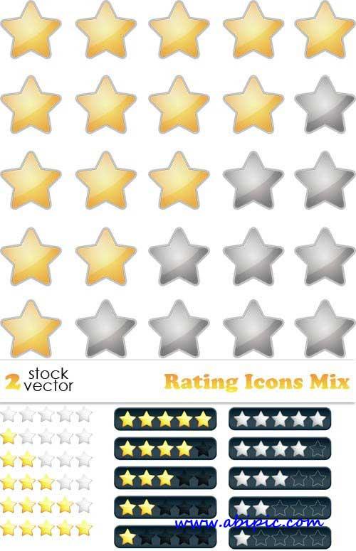 دانلود وکتور آیکون امتیاز Rating Icons Mix