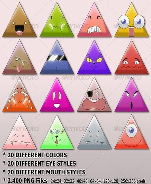 دانلود طرح آیکون شکلک های مثلثی بامزه ULTIMATE Krazy Triangles