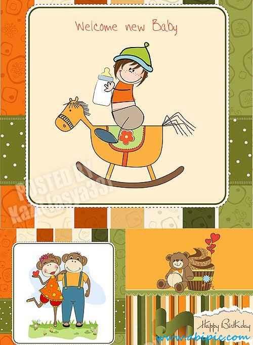 دانلود وکتور کارت دعوت کودکانه Baby cards