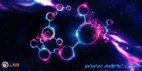 دانلود طرح لایه باز حباب های فضایی Abstract PSD Source - Space Bubbles