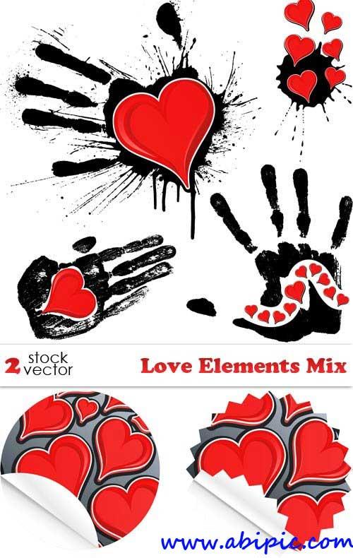 دانلود وکتور المان های رمانتیک و عاشقانه Vectors - Love Elements