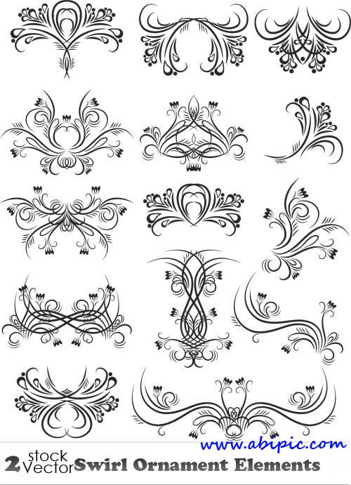 دانلود وکتور عناصر گل و بوته شماره 8 Vectors - Swirl Ornament Elements