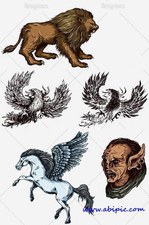دانلود وکتور حیوانات افسانه ای Vector Mythical Creatures