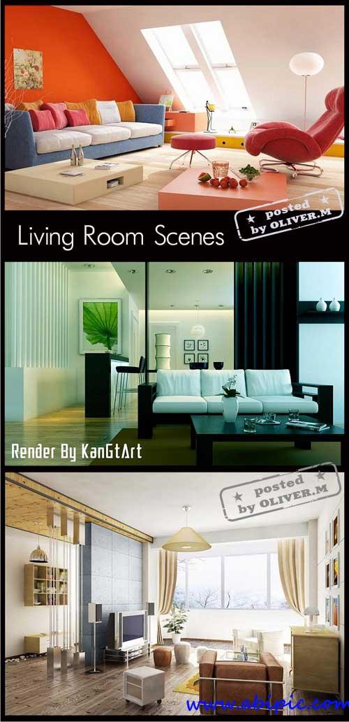 دانلود مدل آماده اتاق پذیرای سری 2 Living room Interiors Scenes for 3ds Max