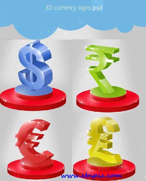 دانلود طرح لایه باز علامت واحدهای پولی و ارزی Beautiful 3D Currency Signs PSD
