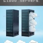 دانلود طرح لایه باز سرورهای میزبانی ابری Cloud Servers PSD