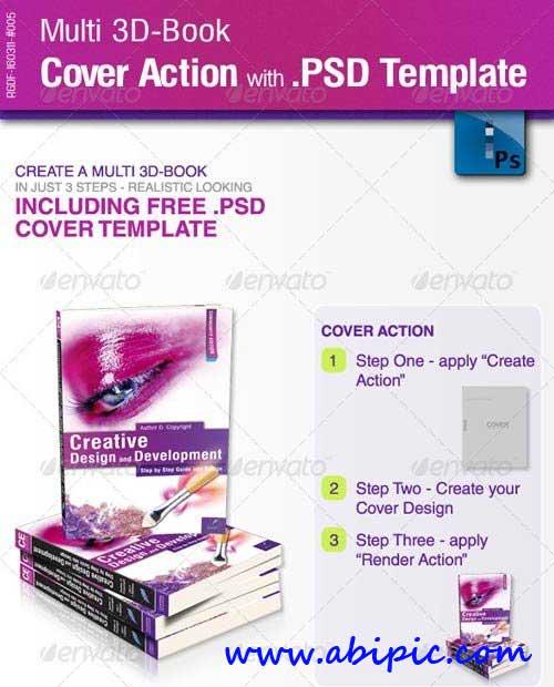 دانلود اکشن و طرح لایه باز ساخت جلد کتاب  Multi 3D-Book Cover Action with PSD