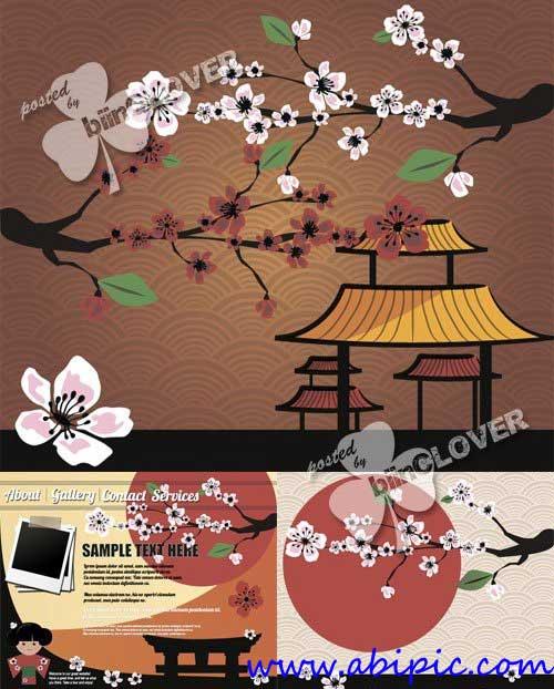 دانلود وکتور کارت تبریک با طرح ژاپنی Japanese card with blossom sakura