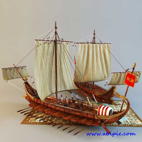 دانلود مدل 3 بعدی کشتی جنگی رومی Roman galley battle 3d Model