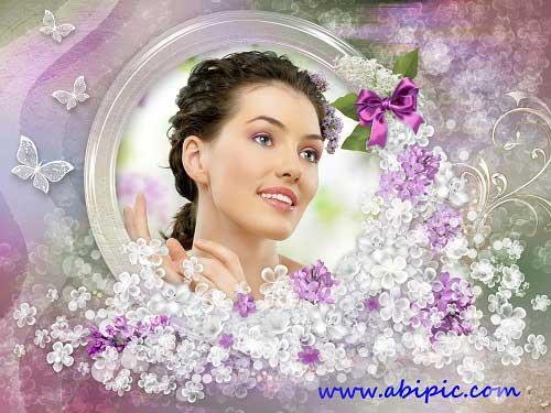 دانلود قاب عکس طراحی شده با گل های یاس Spring frame lilac blossoms