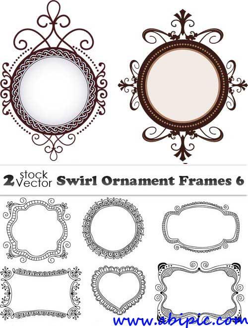 دانلو وکتور فریم و حلقه شماره 8 Vectors - Swirl Ornament Frames