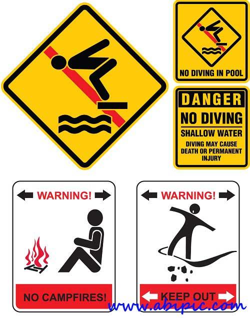 دانلود وکتور سمبل های مختلف علامت خطر Vectors Various Warning Symbols