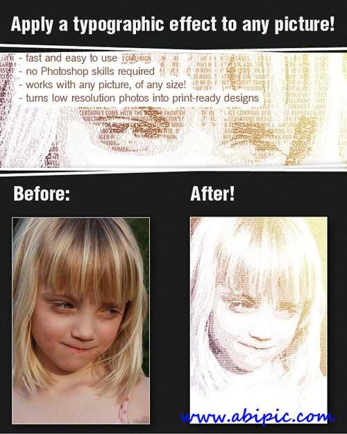 ابزار افکت تایپوگرافی عکس در فتوشاپ Typographic Photoshop Addon Action