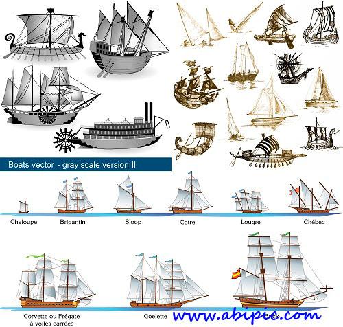 دانلود وکتور انواع مختلف کشتی های قدیمی Sailing vessels Stock Vector