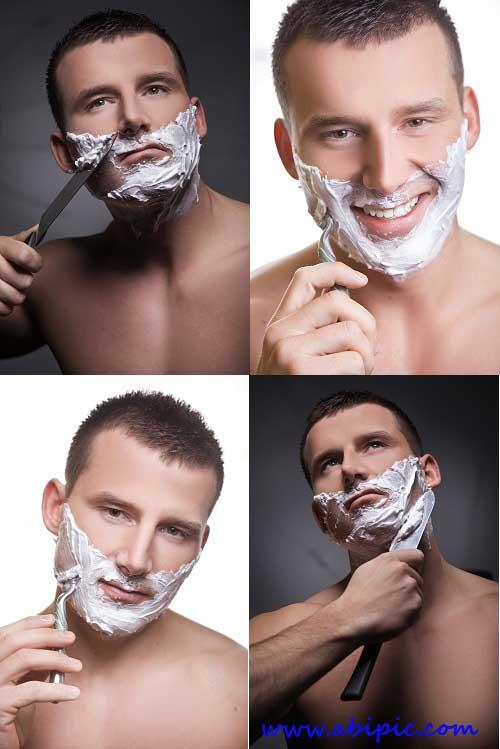 عکس استوک مردان در حال اصلاح صورت Stock Photos - Shaving Man