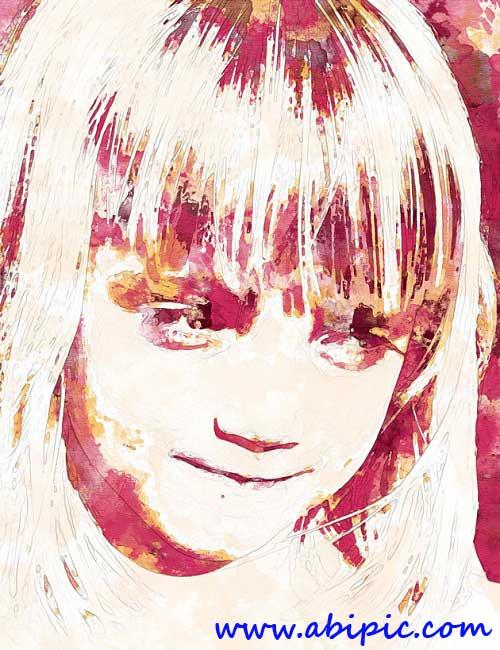 ابزار ساخت عکس های با افکت آبرنگ حرفه ای Watercolor Photoshop Action