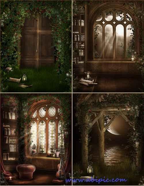 دانلود بک گراندهای مخصوص عکس پرتره کودکان Forest library portraite background