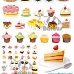 دانلود وکتور کیک و شیرینی تولد شماره 2 Sweet cakes and pies