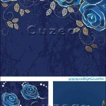 دانلود وکتور بکگراند با پس زمینه گل رز آبی Roses blue vintage card in vector