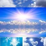 دانلود تصاویر استوک آسمان آبی با ابر سفید Blue sky with white clouds