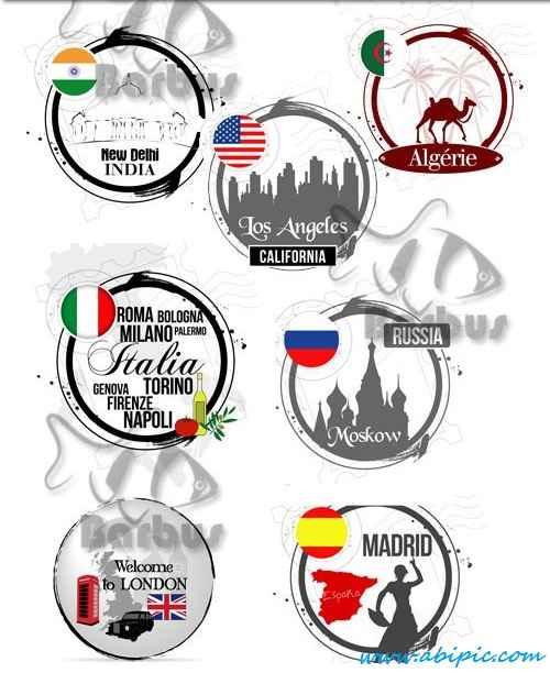 دانلود وکتور نمادهای کشور ها و شهرها Stamps of the countries and cities