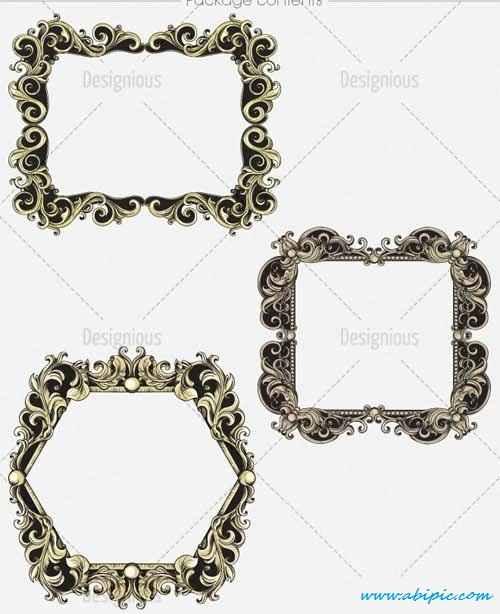 دانلو وکتور فریم و حلقه شماره 9 Floral Vector Set