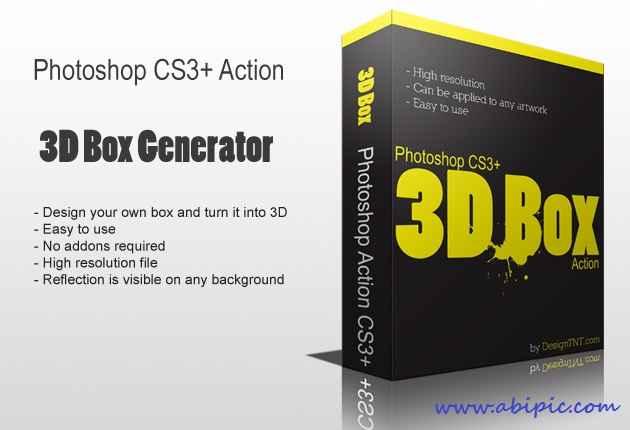 دانلود اکشن ساخته جعبه های بسته بندی 3 بعدی  PS 3D Box Action