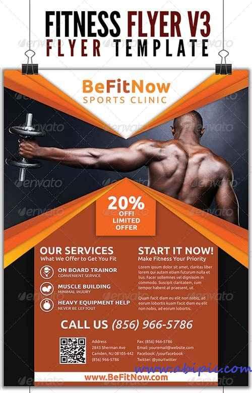 دانلود پوستر تبلیغاتی پرورش اندام GraphicRiver Fitness Flyer