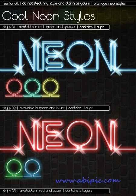 دانلود استایل متن نئون فتوشاپ Cool Neon Photoshop Styles