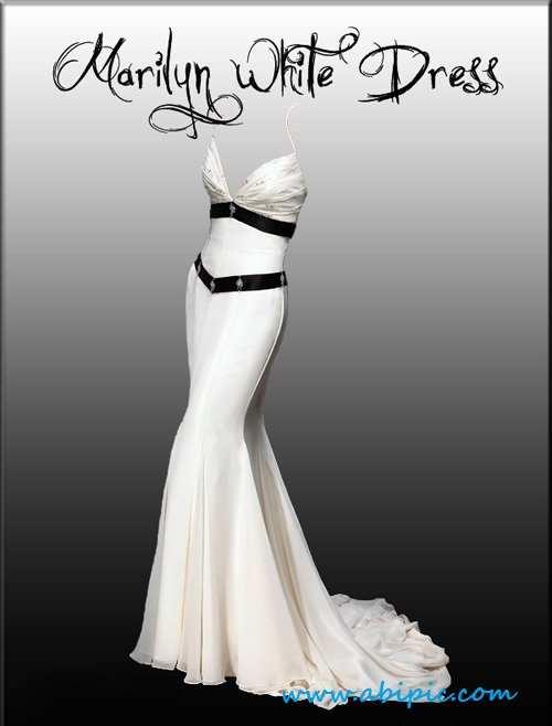 دانلود طرح لایه باز لباس سفید خانم ها Marilyn White Dress