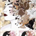 دانلود وکتور پرتره خانم ها با طرح گل Stock Enchanting woman portrait