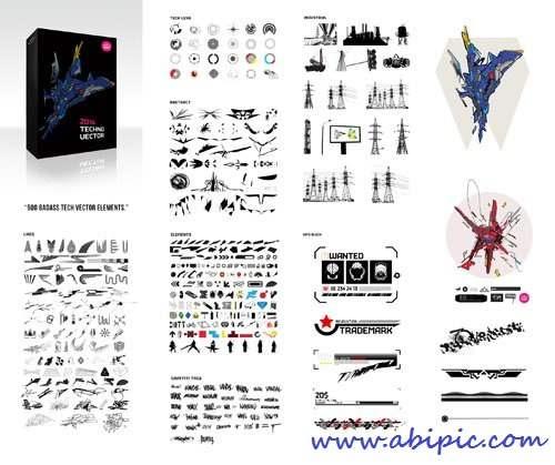 دانلود مجموعه عظیم وکتور های تکنولوژی Badass Tech Vector 500 Elements