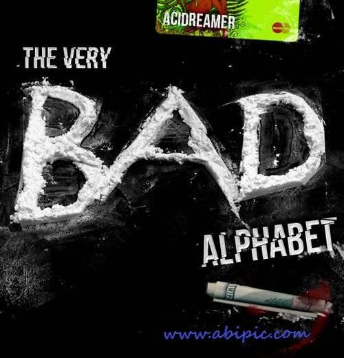 دانلود براش حروف الفبا با طرح کوکائین Cocaine Alphabet Photoshop Brushes