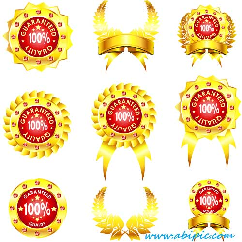 دانلود وکتور و لیبل های بر چسب طلایی Vectors Royal Guarantee Stickers
