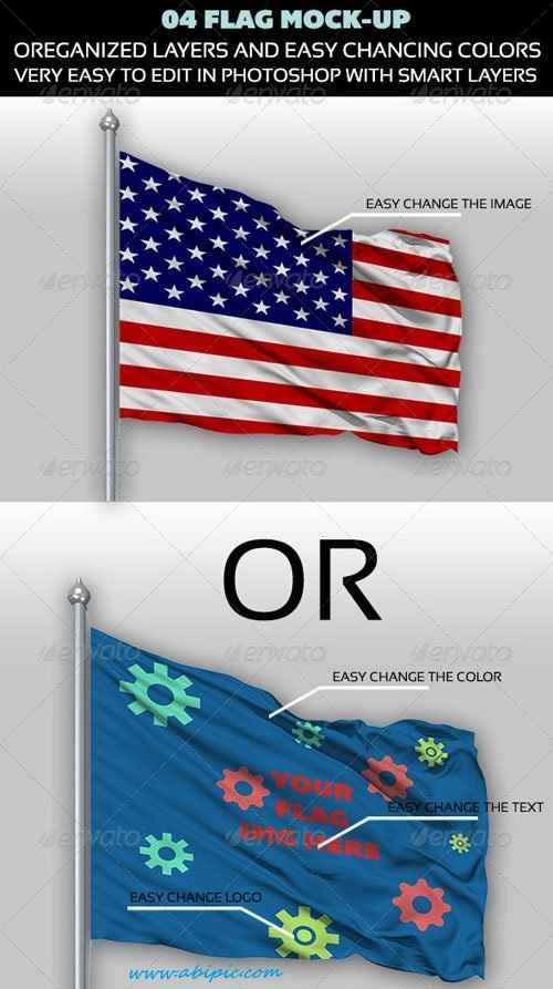 دانلود طرح لایه باز موک آپ پرچم Flag Mock-up