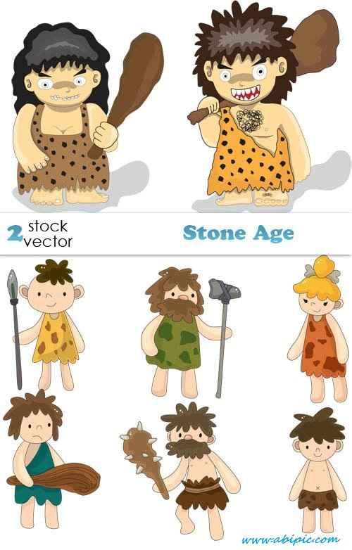دانلود وکتور انسان های اولیه Vectors - Stone Age