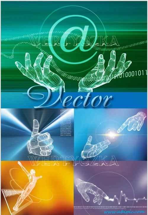 دانلود وکتور پس زمینه خلاقانه با طراحی دست انسان Creative vector of human hands