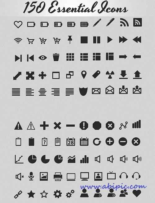 دانلود طرح لایه باز 150 آیکون ضروری برای طراحی سری 1 Essential Icons Collection