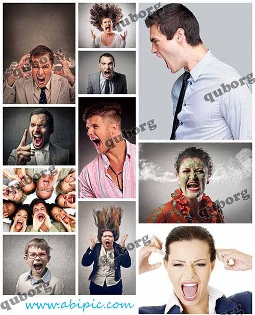 دانلود تصاویر استوک مردم در حال فریاد زدن Stock Photos Screaming People