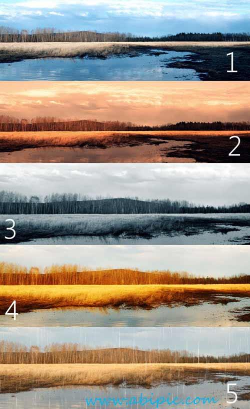 دانلود 5 اکشن فتوشاپ تغییر رنگ حرفه ای Premium Photoshop Actions