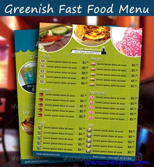 دانلود طرح لایه باز منو فست فود شماره 5 Greenish Fast Food Menu