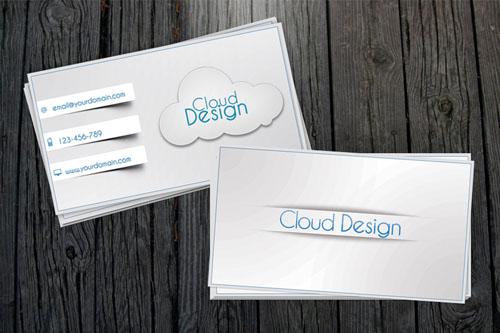 دانلود طرح لایه باز کارت ویزیت سفید با طرح ابر White Business Card PSD