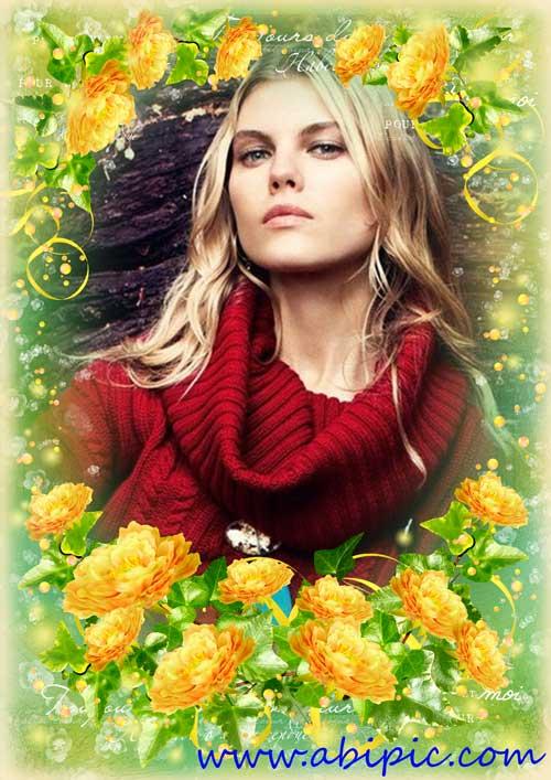 دانلود قاب عکس لایه باز گل های زرد طلایی sunny mood