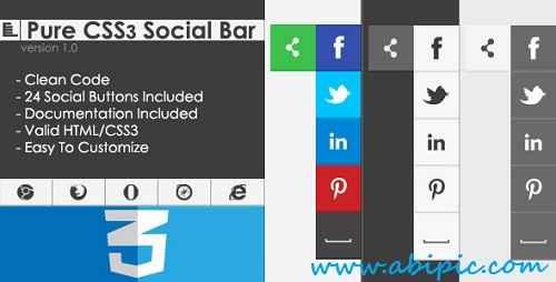 دانلود نوار آماده دکمه شبکه های اجتماعی Pure CSS3 Social Bar v1.0