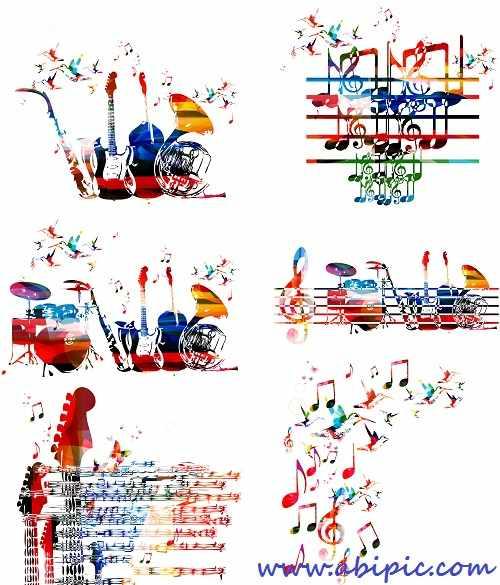 دانلود وکتور پس زمینه رنگارنگ با طرح ابزار موسیقی Instruments colorful background